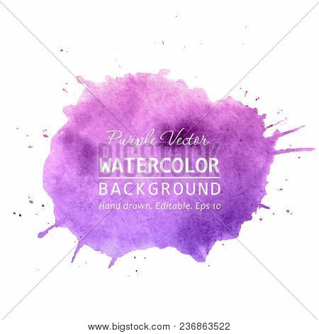 Purple Paint Splatter Background Vector. Watercolor Splatter Vector Background For Text, Banner Labe