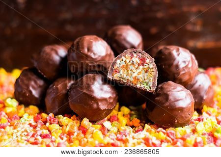 Candied Roasted Hazelnuts And Peanuts With Dried Apricot, Dried Cherry, Candied Pineapple Fruit And