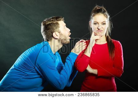 Husband Apologizing Wife. Man Asking Woman For Forgivness. Boyfriend Trying To Convince Girlfriend.