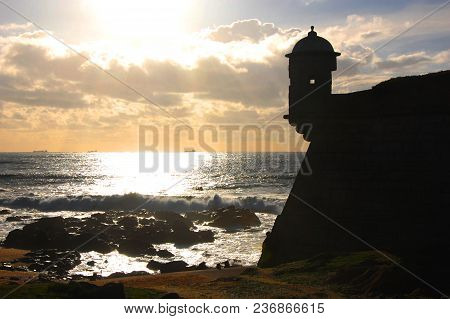 Porto, Portugal - Sunny View Of The Atlantic Ocean Next To The Fort Of Sao Francisco Do Queijo