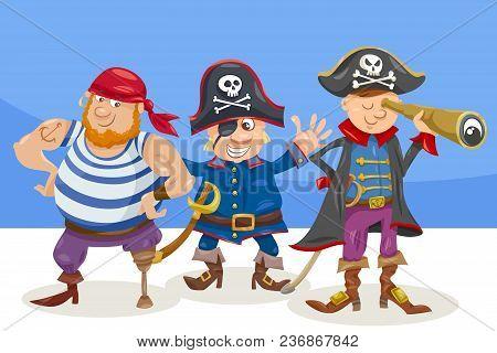 Cartoon Illustration Of Funny Pirates Or Corsairs Fantasy Characters