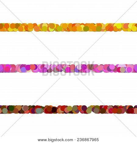 Repeatable Random Circle Pattern Text Dividing Line Design Set - Vector Graphic Elements From Colore