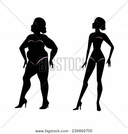Fat Woman And Slender Woman Silhouettes.  Healthy And Unhealthy Lifestyle