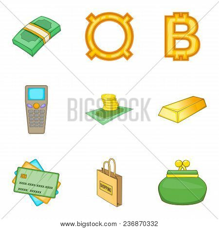 Cash Loan Icons Set. Cartoon Set Of 9 Cash Loan Vector Icons For Web Isolated On White Background