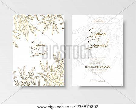 Wedding Vintage Invitation, Save The Date Card With Golden Berries And Branches Sea Buckthorn. Elega