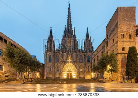 Panorama Of Barcelona Cathedral Of The Holy Cross And Saint Eulalia During Morning Blue Hour, Barri