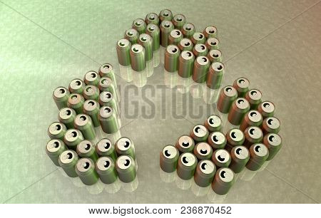 3d Rendering Of Aluminum Cans Forming The Recycle Symbol
