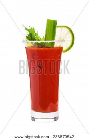 Bloody Mary Cocktail Isolated On White Background. Selective Focus.