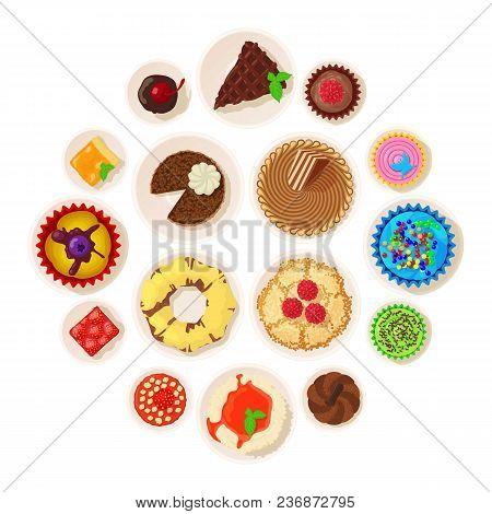 Dessert Top View Detailed Icons Set. Cartoon Illustration Of 16 Dessert Top View Detailed Vector Ico