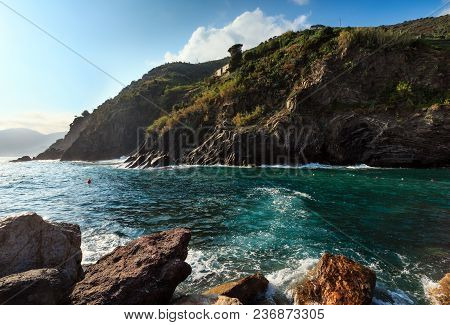 Beautiful Evening Surf Waves And Rocky Coast In Summer Vernazza Outskirts - One Of Five Famous Villa