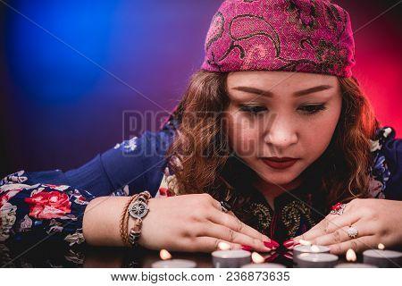 Female Woman Seer Teller Psychic Fortuneteller Predicting Fate For Sign