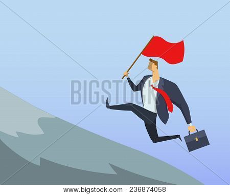 Businessman In Office Suit Running Fast Up The Hillside With The Flag In His Hand. Achieving Goals.