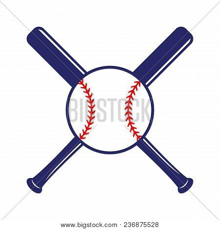 Baseball Crossed Bats With Ball. Criss Cross Bats. Flat Vector Illustration