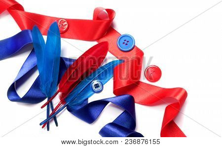 Fashion ribbons and buttons on a white background
