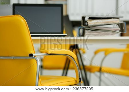 Empty Workplace In Office Closeup Or Head Hunter Profession Modern Solution