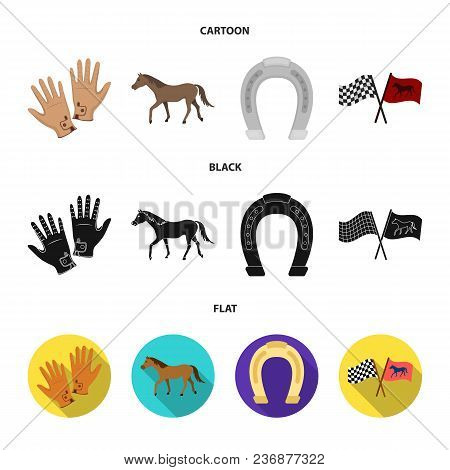 Race, Track, Horse, Animal .hippodrome And Horse Set Collection Icons In Cartoon, Black, Flat Style
