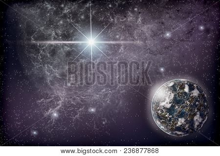 The Universe: The Starry Sky, A Bright Star, Nebula And A Planet Surrounded By A Glowing Atmosphere.