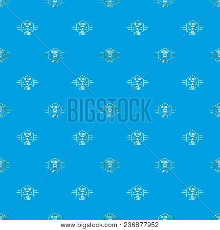 Retro Style Pattern Vector Seamless Blue Repeat For Any Use
