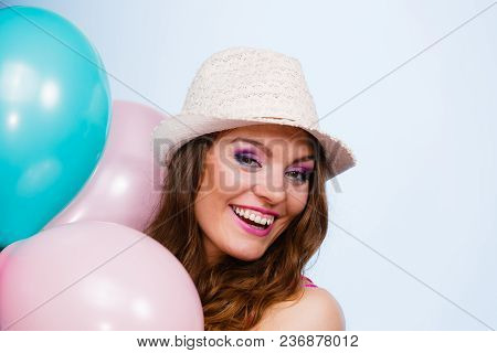 Woman Charming Girl Playing With Many Colorful Balloons. Summer, Celebration Happiness And Lifestyle