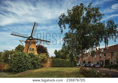 Street With Wooden Windmill, Leafy Bushes, Green Lawn And Houses Under Sunny Blue Sky At Weesp. Quie