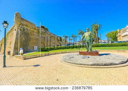 Cascais, Portugal - August 6, 2017: Statues In Honor Of King Carlos I Near Fortress Of Our Lady Of L