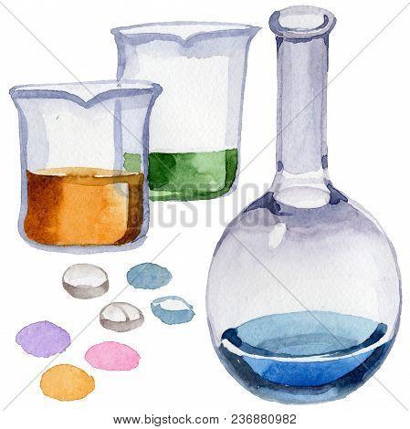 Beakers Clinic Pharmacy Set. Hospital Ambulance Emergency Chemistry Element. Science Treatment Medic