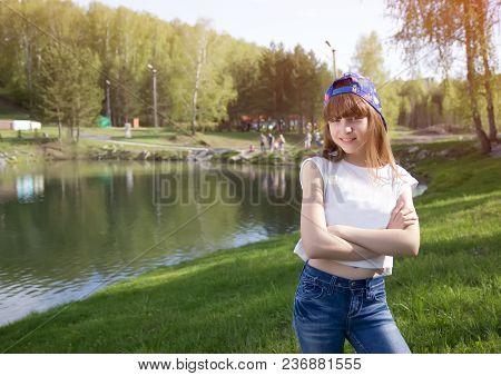 Portrait Of Cute Teen Girl In Outdoor Near Lake