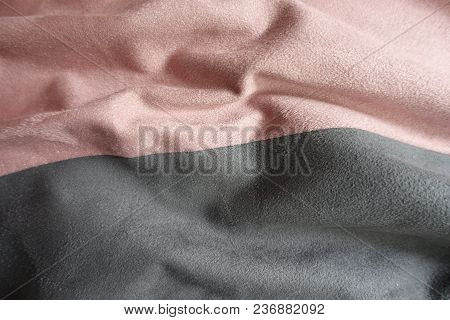 Folded Artificial Suede In Pink And Grey
