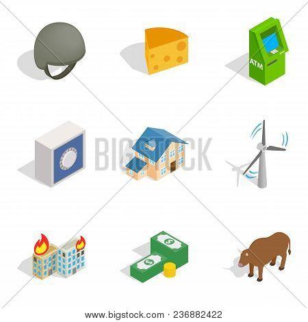 Money Supply Icons Set. Isometric Set Of 9 Money Supply Vector Icons For Web Isolated On White Backg