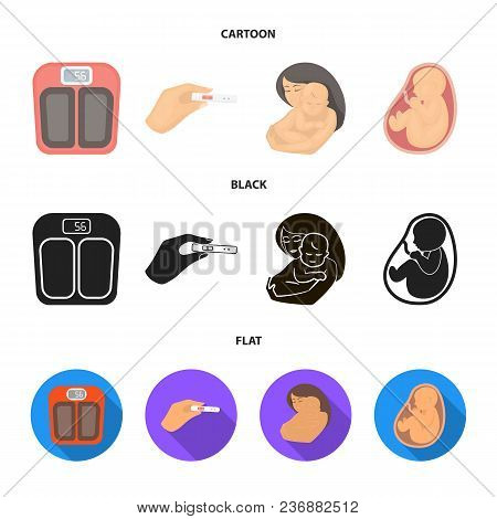 Child In The Womb, Scales, Test. Pregnancy Set Collection Icons In Cartoon, Black, Flat Style Vector