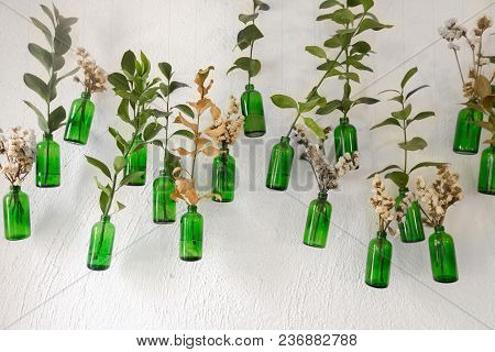 Wall With Hanging Green Bottles And Stick In Flowers And Green Branches.