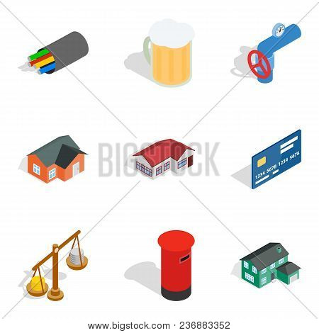 Cash Supply Icons Set. Isometric Set Of 9 Cash Supply Vector Icons For Web Isolated On White Backgro