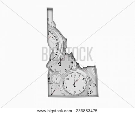 Idaho ID Clock Time Passing Forward Future 3d Illustration