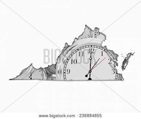 Virginia VA Clock Time Passing Forward Future 3d Illustration