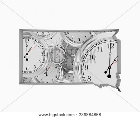 South Dakota SD Clock Time Passing Forward Future 3d Illustration