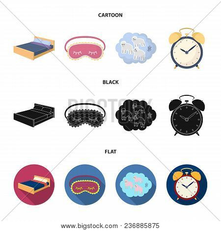 A Bed, A Blindfold, Counting Rams, An Alarm Clock. Rest And Sleep Set Collection Icons In Cartoon, B