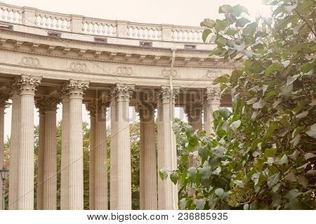 Architectural View Of The Colonnade Of The Kazan Cathedral.garden Of Green Trees. Saint Petersburg,