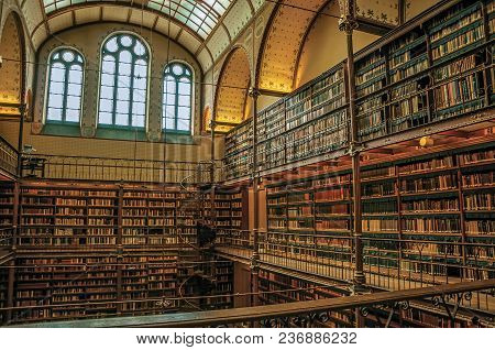 Amsterdam, Northern Netherlands - June 24, 2017. Large Library Of The Rijksmuseum (national Museum)