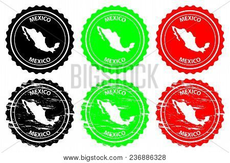 Mexico - Rubber Stamp - Vector, Mexico Continent Map Pattern - Sticker - Black, Blue And Red