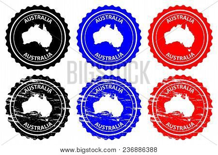 Australia - Rubber Stamp - Vector, Australia Continent Map Pattern - Sticker - Black, Blue And Red