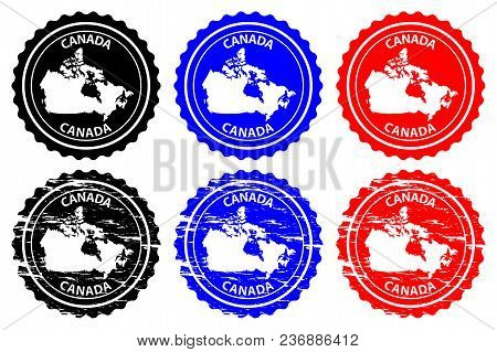 Canada - Rubber Stamp - Vector, Canada Continent Map Pattern - Sticker - Black, Blue And Red