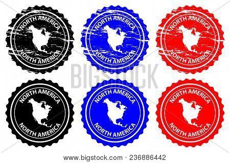 North America - Rubber Stamp - Vector, North America Continent Map Pattern - Sticker - Black, Blue A