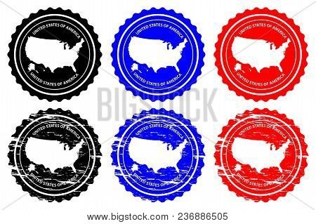 Usa - Rubber Stamp - Vector, United States Of America Continent Map Pattern - Sticker - Black, Blue