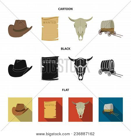Cowboy Hat, Is Searched, Cart, Bull Skull. Wild West Set Collection Icons In Cartoon, Black, Flat St