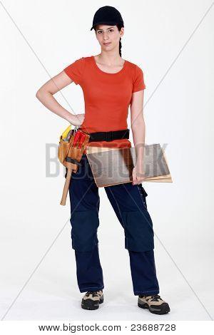 female carpenter posing