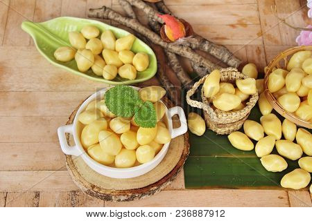 Boiled Ginkgo Nuts Delicious On Wood Background