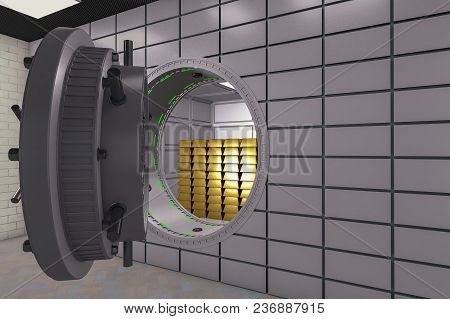 A Large Safe Door With Gold Bars (3d Rendering)