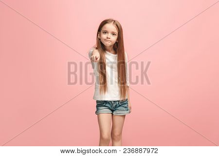 I Choose You And Order. The Serious Teen Girl Pointing To Camera, Half Length Closeup Portrait On Pi
