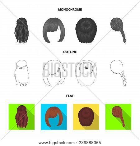 Light Braid, Fish Tail And Other Types Of Hairstyles. Back Hairstyle Set Collection Icons In Flat, O
