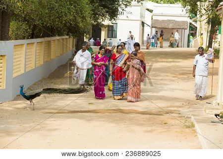 Ashram Of Sri Ramana Maharshi, Tiruvannamalai, Tamil Nadu, India - March Circa, 2018. Unidentified W
